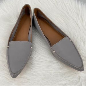 J Crew Edie Pointed Toe Leather Flats Pewter Gray